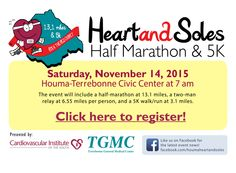 Race registration is NOW OPEN for the Houma Heart & Soles Half-Marathon & 5K on November 14, 2015. Register for one of 3 distances: the half-marathon, half-marathon relay, or the 5K. Proceeds benefit cardiac screenings and education. Sign up early for the best rate! #houma #race #run #5K #halfmarathon #louisiana