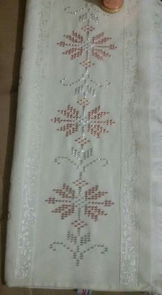This Pin was discovered by Öze Ribbon Embroidery, Embroidery Patterns, Cross Stitch Patterns, Beaded Cross, Weaving Patterns, Bargello, Beading Projects, Needle And Thread, Handicraft