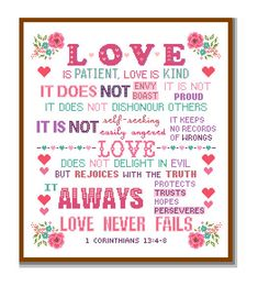 Grandma Quotes Discover Modern Cross Stitch Pattern Corinthians Love is Patient and kind Love never fails Bible verse scripture motivational Christmas cross Modern Cross Stitch Patterns, Counted Cross Stitch Patterns, Cross Stitch Embroidery, Wedding Cross Stitch, Pattern Pictures, Love Is Patient, Cross Stitch Alphabet, Corinthian, Christmas Cross