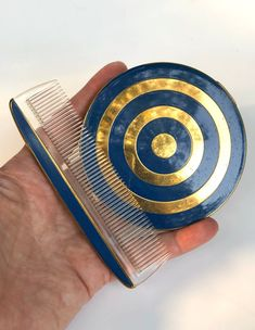 Vintage Compact Comb set Blue Bullseye Art Deco Cover Rare | Etsy
