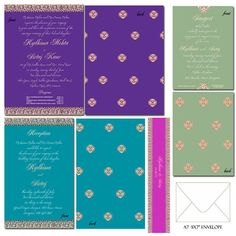 Bejeweled Indian Wedding Invitation Suite por withanindiantouch