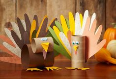 Let your pint-sized Thanksgiving guests craft away with our creative handprint turkeys.