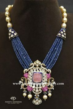 Polki diamond haram from Ananth Diamonds, artistically layered in blue sapphire beads, studded with pink tourmaline surrounded by diamonds Jewelry Design Earrings, Gold Jewellery Design, Bead Jewellery, Necklace Designs, Gold Jewelry, Beaded Jewelry, Antique Jewelry, Beads Jewellery Designs, Tiffany Jewelry