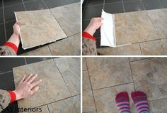 Installing-Groutable-Vinyl-Tile - an inexpensive solution to cover an old floor you can do yourself.