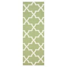 """Hand-hooked wool rug in green with a quatrefoil trellis motif.   Product: RugConstruction Material: 100% WoolColor: GreenFeatures: Hand-hookedDimensions: 2'6"""" x 8'Note: Please be aware that actual colors may vary from those shown on your screen. Accent rugs may also not show the entire pattern that the corresponding area rugs have.Cleaning and Care: These rugs can be spot treated with a mild detergent and water. Professional cleaning is recommended if necessary."""