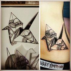 Grey Ink Paper Crane Tattoo On Side Rib