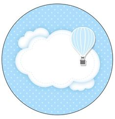 Rotulo-Personalizado-para-latinha-e-toppers-Balao-de-Ar-Quente-Azul-Kit-Festa. Baby Ruth, Baby Shawer, Balloon Birthday Themes, Scrapbook Bebe, Welcome Baby Boys, Diy And Crafts, Paper Crafts, Baby Stickers, Baby Album