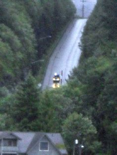 Ketchikan, Alaska the wettest place in Alaska.  It has very steep roads too!