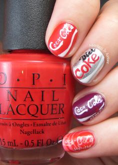 Adventures In Acetone: The Digit-al Dozen DOES Metal, Day Coca Cola Cans! Coke is my ALL time fav love these nails Crazy Nail Art, Crazy Nails, Cute Nail Art, Love Nails, How To Do Nails, Pretty Nails, Food Nail Art, Nail Lacquer, Nail Effects