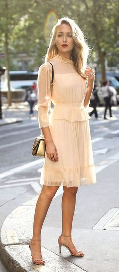 30 Dresses in 30 Days   Day 14: What to Wear to a Baptism // Light nude apricot ruffle flounce trim long sleeve short dress, tan metallic woven shoulder bag, nude strappy open toe sandal heels {See by Chloe, Stuart Weitzman, Stella McCartney, classic styl