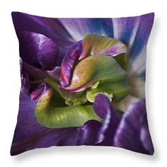 Heart of a Purple Tulip Throw Pillow ~ an abstract photograph of the beautiful inside of a blooming tulip. Decorative throw pillows available in multiple sizes.  www.ronablack.com