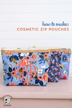 A free zip pouch sewing pattern that uses only two fat quarters of fabric. How to make a cosmetic zip pouch. A make up bag DIY tutorial.