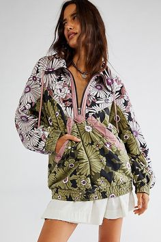 Floral Tops, Floral Prints, Classic Style, Free People, Bomber Jacket, Design Inspiration, Pullover, Sleeves, Fabric