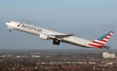 American Airlines Boeing 777-323/ER (registered N726AN) departing London-Heathrow, February 2015 (Photo by Andrew Pope)