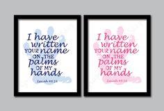 I have written your name. Bedroom Prints, Nursery Prints, Your Name, Kids Prints, Blue Design, 2 Colours, Names, Printables, Christian