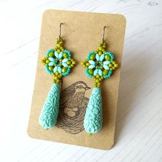Green Earrings, Drop Earrings, Light Turquoise, Pretty Pastel, Faceted Glass, Summer Jewelry, Bead Weaving, Craft House, Beaded Embroidery