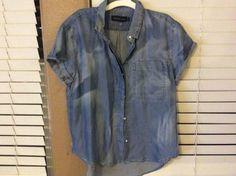 New Calvin klein ck denim shirt top blouse Lycoll M $79.50 #CalvinKlein #ButtonDownShirt