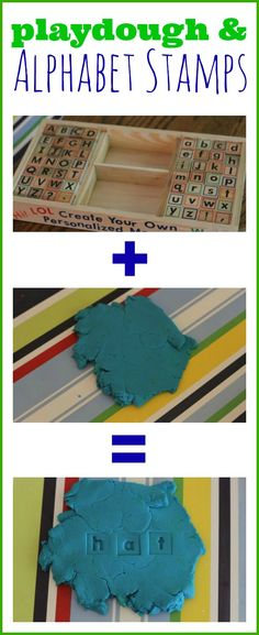 using stamps and play-doh to teach letters and spelling words