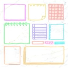 Blank reminder paper notes vector set | premium image by rawpixel.com / sasi Note Doodles, Sticky Paper, Ribbon Banner, Notes Template, Journal Cards, Journal Stickers, Planner Stickers, Stationery Templates, Pink Paper