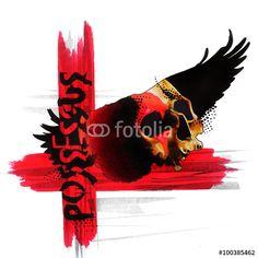 Teschio con ali e scritta Illustrazione Tatuaggio in stile trashpolka