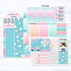 """All original patterns and artwork!  This listing is for our CLASSIC FULL COVER kit – Our signature layout is perfect if you don't need a lot of functional stickers and do not like having many leftovers. Each kit is designed to give you a full weekly spread with no """"white space"""" (please be aware that date covers may be sold individually outside of the set)!  CLASSIC FULL COVER: 4 Sheets, in PREMIUM MATTE or GLOSSY ________________________________________________________________  *Our…"""