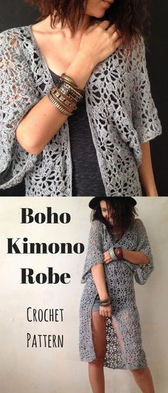 Boho Kimono Robe. Create your own festival look with this crochet pattern. #bohokimono #ad #crochet #pattern
