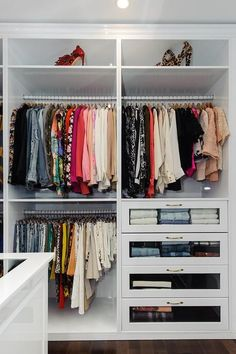 Walk In Closet with Glass Front Dresser Drawers #closetstorage