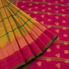 Venkie Reddy Handwoven Gadwal Kuttu Silk Saree with Checks & Temple Border 10007862 - creative - AVISHYA.COM