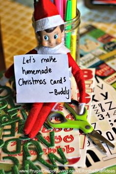 Elf on the Shelf Ideas –  Elf Makes Christmas Cards, this and daily Funny Elf on the Shelf Ideas all Season Long. FREE Printable Notes too!