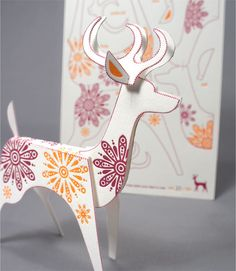 put together your own paper reindeer ornament