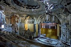 Detroit in ruins. The ruined Spanish-Gothic interior of the United Artists Theater in Detroit. The cinema was built in 1928 by C Howard Crane, and finally closed in Photograph: Yves Marchand and Romain Meffre Abandoned Buildings, Abandoned Mansions, Old Buildings, Abandoned Places, Abandoned Library, Derelict Places, Detroit Ruins, Abandoned Detroit, Old Houses