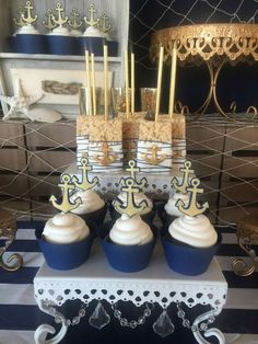 Amazing treats at a nautical wedding party! See more party planning ideas at CatchMyParty.com! #ad