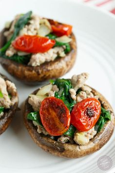 Ground turkey and Spinach Stuffed Mushrooms