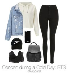 """""""Concert during a Cold Day: BTS"""" by kapparel ❤ liked on Polyvore featuring Topshop, Miss Selfridge, Givenchy, rag & bone and Timberland"""