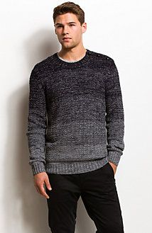 Buttoned Ombre Crewneck Sweater
