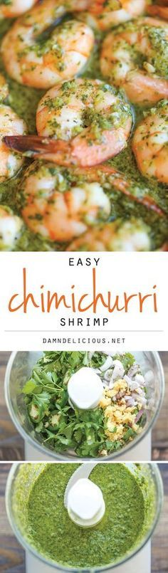 Easy Chimichurri Shrimp - The easiest, most simple 20 minute dish you will ever make. And this can be served either as an appetizer or light dinner! Seafood Recipes, Cooking Recipes, Healthy Recipes, Recipes Dinner, Dinner Ideas, Lunch Recipes, Healthy Meals, Pasta Recipes, Soup Recipes