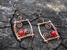 Red Coral Spiral Rectangular Earrings Dangle by MargoJewelryDesign