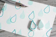 sello de la gota de agua, sello de goma de gota de lágrima, sello de goma de las…