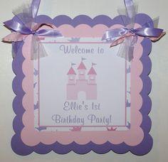 NEW...Princess Castle Welcome Door sign, Castle Door Sign, Princess Door Sign (Pink & Lavender) by The Party Paper Fairy