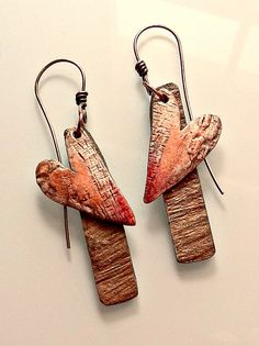 Valentine earrings, 2015 - polymer clay, acrylic and oil paints, slate veneer from Lillypilly Designs by Christine Damm, Stories They Tell