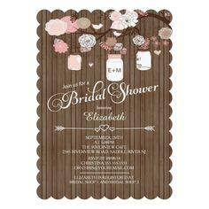Rustic Country Mason Jar Bridal Shower Card