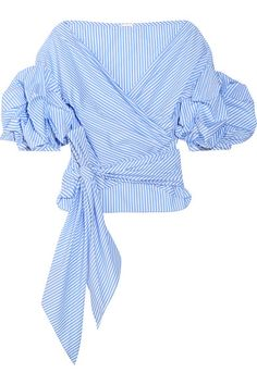 Blue and white cotton-poplin Ties at front 100% cotton Machine wash Imported