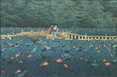 Kawase Hasui Japanese woodblock print - Waterlillies