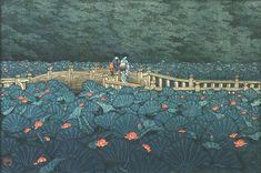 Kawase Hasui Japanese woodblock print - Waterlillies
