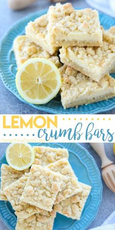 Lemon Crumb Bars have a lightly sweet and buttery cookie base that doubles as the crumb topping, and an easy creamy lemon filling in the center. A delicious bar dessert that is a great substitute for pie. Lemon Dessert Recipes, Lemon Recipes, Baking Recipes, Sweet Recipes, Recipes For Lemons, Lemon Cookie Recipe, Crumble Cookie Recipe, Healthy Lemon Desserts, Lemon Cookies Easy