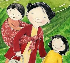 Lovely babywearing illustration by talented author/illustrator Julie Jersild Roth.