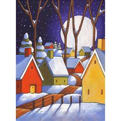 PAINTING Original 12x16 Winter Road Night Moon, Folk Art by Cathy Horvath, Christmas Snow Landscape, Wall Decor, Acrylic on Canvas Artwork