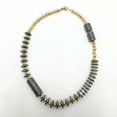 Necklace with black and golden hematite Beaded Necklace, Black, Jewelry, Necklaces, Beaded Collar, Jewlery, Pearl Necklace, Black People, Jewerly