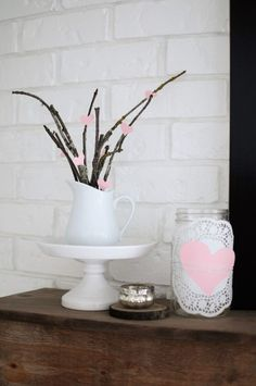 Blush Decor is the Best Way to Decorate for Valentine's Day! - Joyful Derivatives How to decorate for valentine's day / how to style mantel / farmhouse style / modern farmhouse / easy ways to decorate / diy valentines day decor Valentines Day Decor Rustic, Valentines Day Decorations, Valentines Diy, Table Setting Inspiration, Blush, Rustic Colors, Farmhouse Style Decorating, Valentine's Day Diy, Diy Home Decor