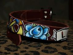 Tattoo leather dog collar LUCKY rose anchor Nautical SMALL